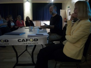 Fabian Hamilton and Anne Street answering questions form CAFOD supporters