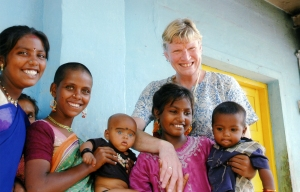 Judith Rees at the kindergarten of CAFOD partner SCAD (Social Change and Development) in India.