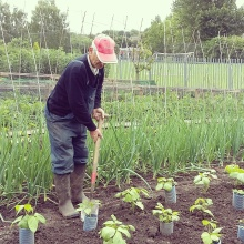 David working in the parish garden