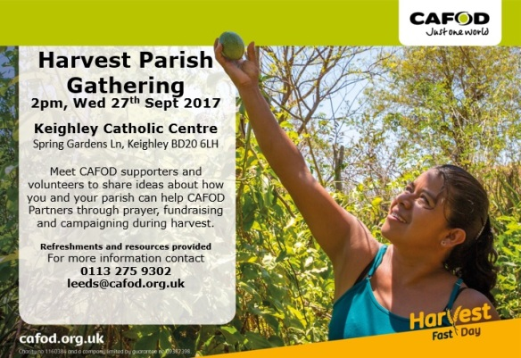 Harvest Parish Gathering 2pm Wed 27th Sept 2017 Keighely Catholic Centre