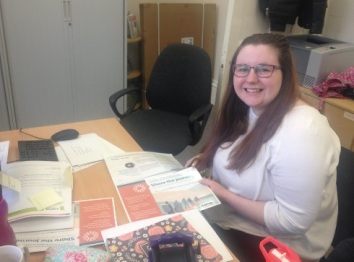 Daisy First Day Office Volunteer with Share the Journey mail out